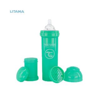 شیشه شیر آنتی کولیک تویست شیک سبز پاستل ظرفیت ۳۳۰ میلی لیتر
