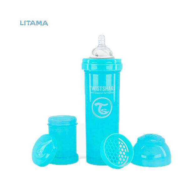شیشه شیر آنتی کولیک تویست شیک آبی پاستل ظرفیت ۳۳۰ میلی لیتر