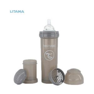 شیشه شیر آنتی کولیک تویست شیک طوسی پاستل ظرفیت ۳۳۰ میلی لیتر