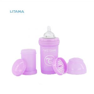 شیشه شیر آنتی کولیک تویست شیک بنفش پاستلی ظرفیت ۱۸۰ میلی لیتر