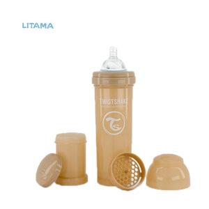 شیشه شیر آنتی کولیک تویست شیک بژ پاستل ظرفیت ۳۳۰ میلی لیتر