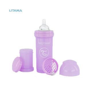 شیشه شیر آنتی کولیک تویست شیک بنفش پاستلی ظرفیت ۲۶۰ میلی لیتر