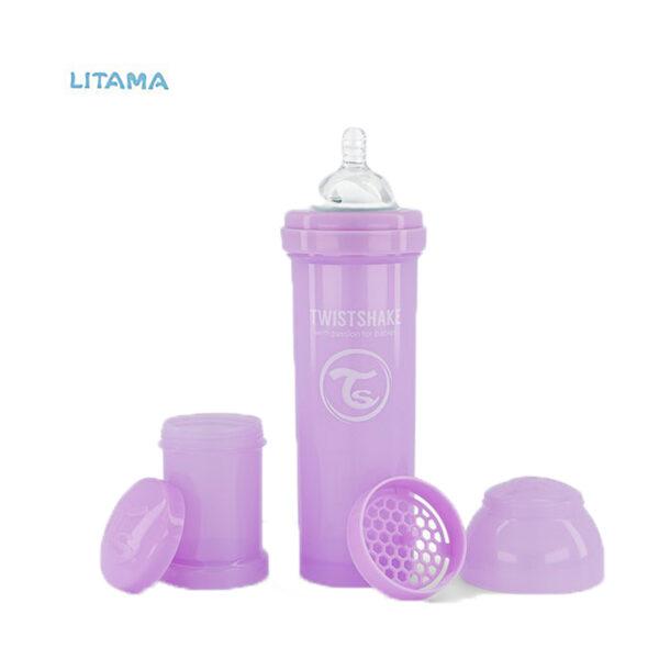 شیشه شیر آنتی کولیک تویست شیک بنفش پاستلی ظرفیت ۳۳۰ میلی لیتر