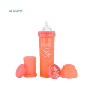 شیشه شیر آنتی کولیک تویست شیک هلویی پاستل ظرفیت ۳۳۰ میلی لیتر