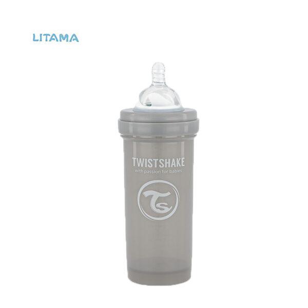 شیشه شیر آنتی کولیک طوسی پاستل ظرفیت ۲۶۰ میلی لیتر