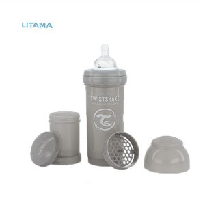 شیشه شیر آنتی کولیک طوسی پاستل ظرفیت ۲۶۰ میلی لیتر تویست شیک