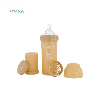 شیشه شیر آنتی کولیک بژ پاستلی ظرفیت ۲۶۰ میلی لیتر تویست شیک
