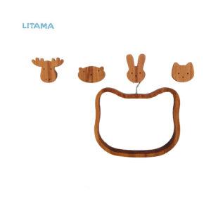 دیوارکوب چوبی طرح حیوانات (گربه، خرگوش، خرس و گوزن)