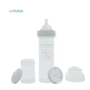 شیشه شیر آنتی کولیک تویست شیک سفید ظرفیت ۳۳۰ میلی لیتر