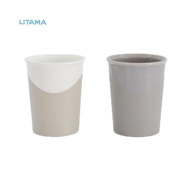 لیوان آبخوری تویست شیک سفید و طوسی پاستلی۱۷۰ میلی لیتر