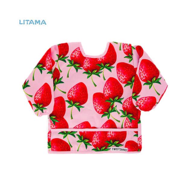 پیشبند غذاخوری آستین دار تویست شیک طرح توت فرنگی